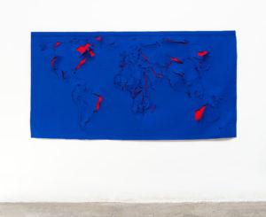MAPPA SCUCITA II ,2018, feltro e tessuto per tenda, 114 x 222 cm
