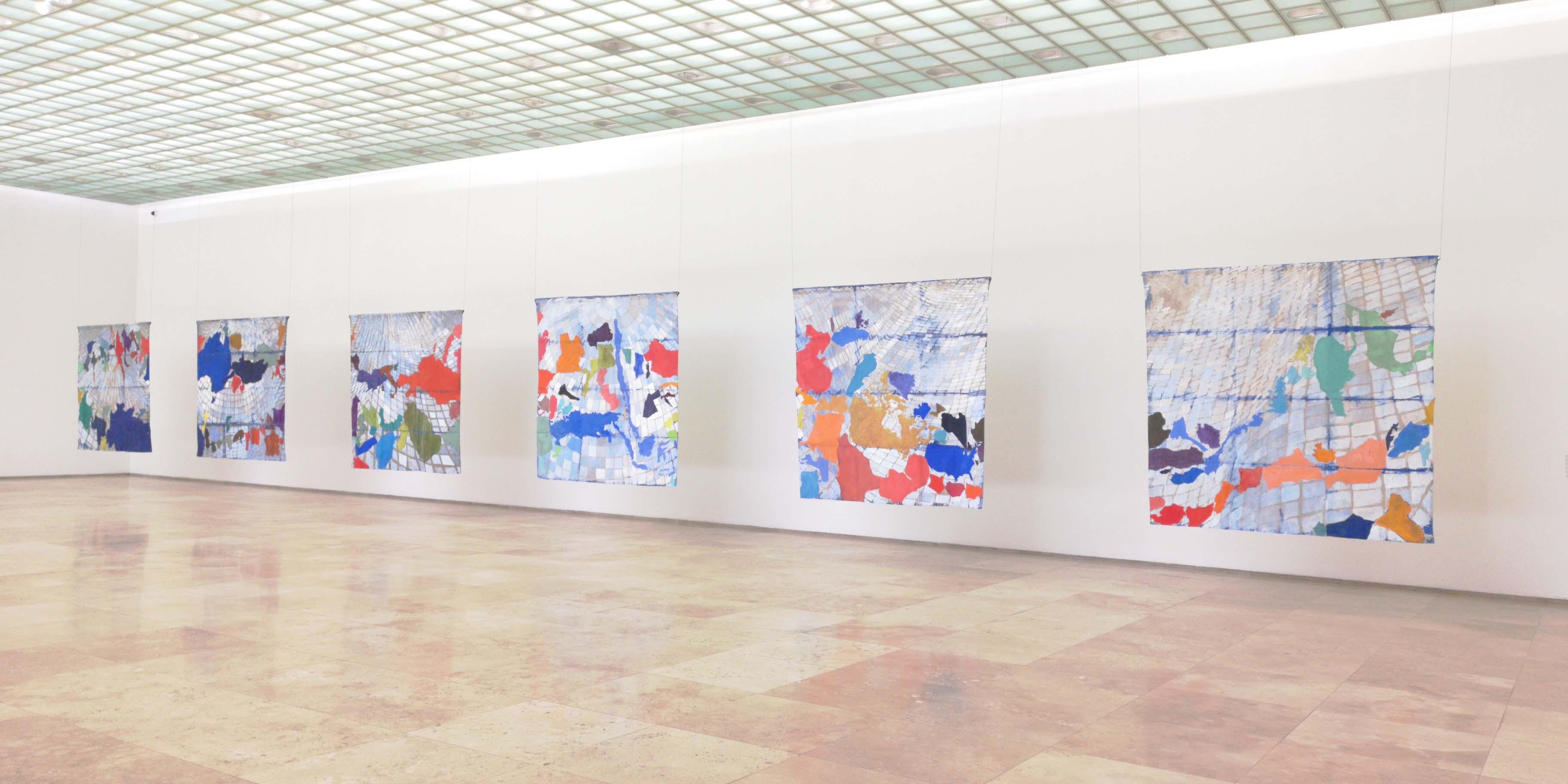 Installation view, DANCE AROUND ME, 2019, pigments on linen canvas, 205 x 1362 cm .jpg